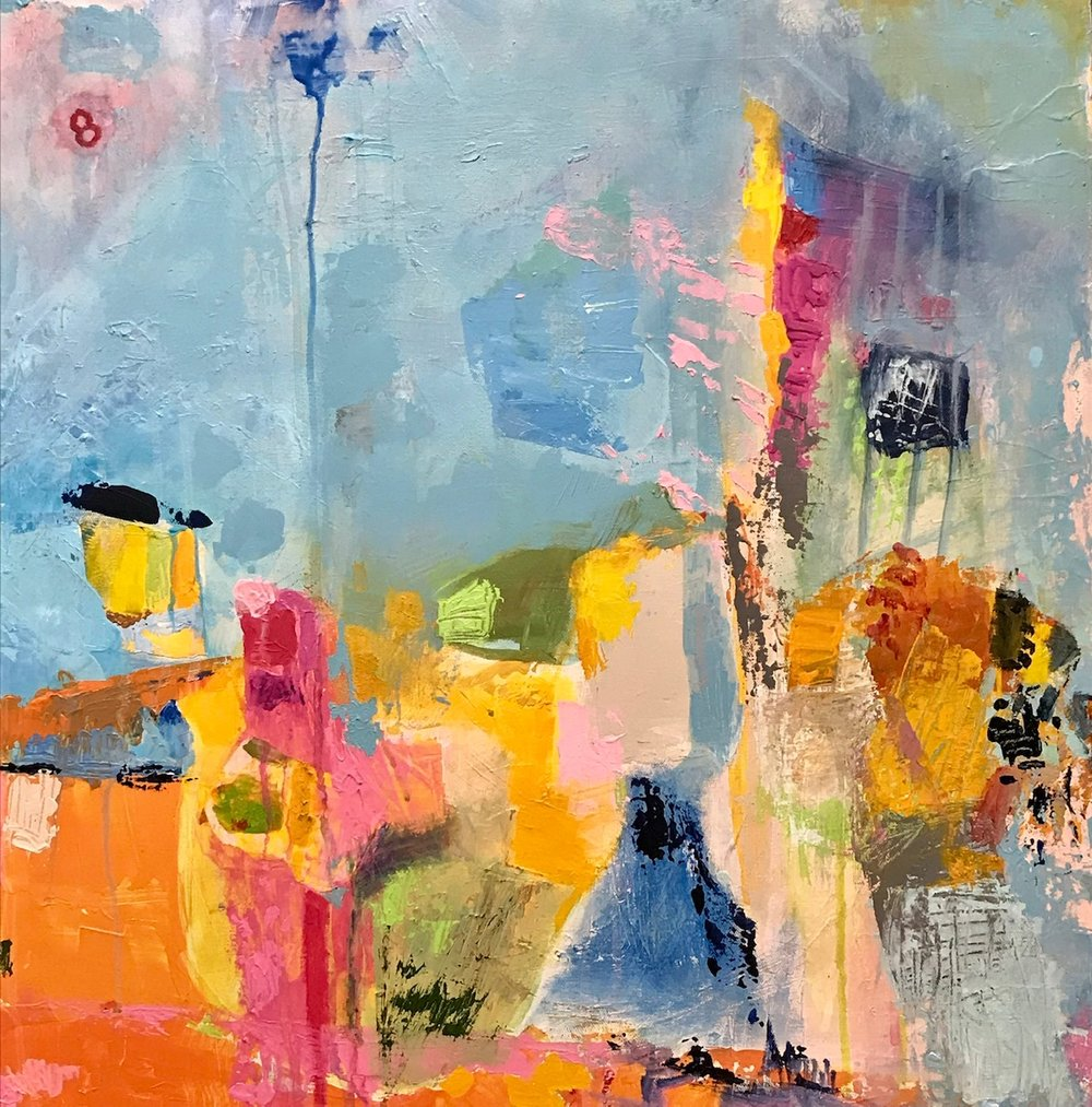 """Number 8  by Sally K. Eisenberg, mixed media on canvas, 40"""" x 30"""""""