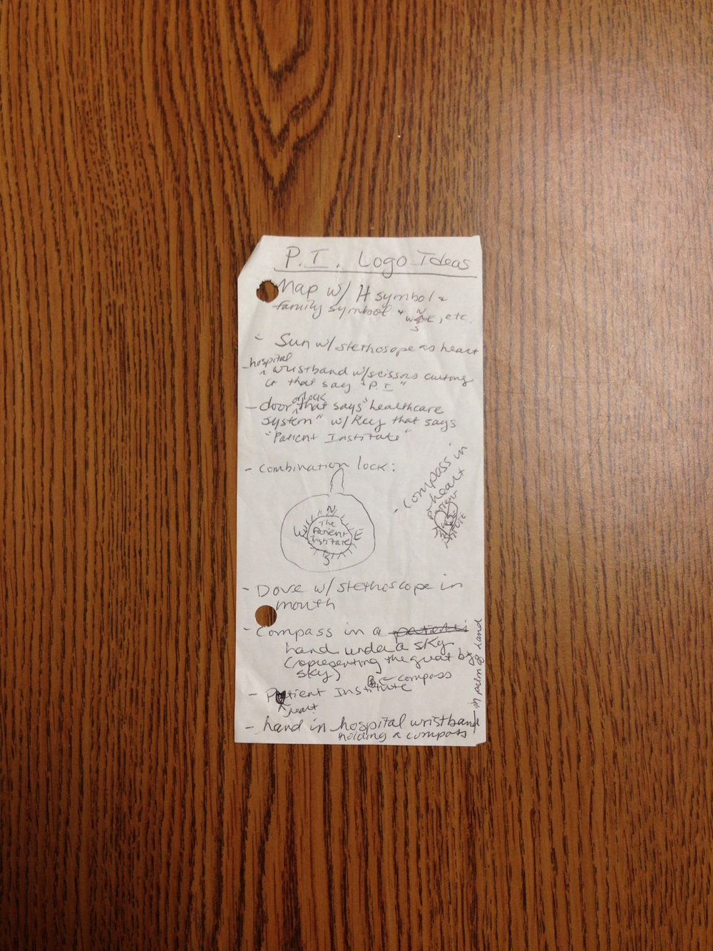 We found our original logo notes on the back of a receipt!