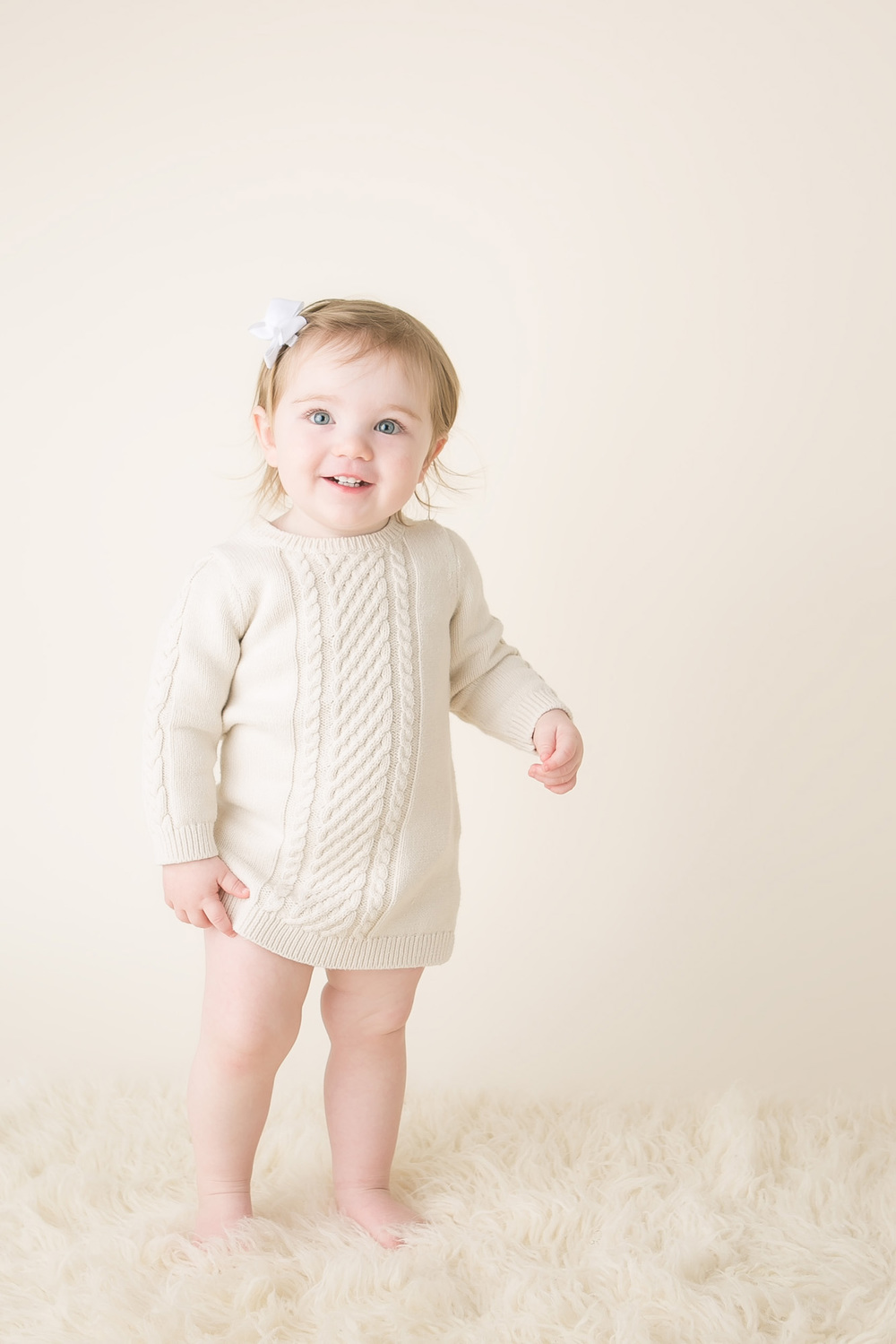 baby girl ivory sweater dress picture columbus ohio photography