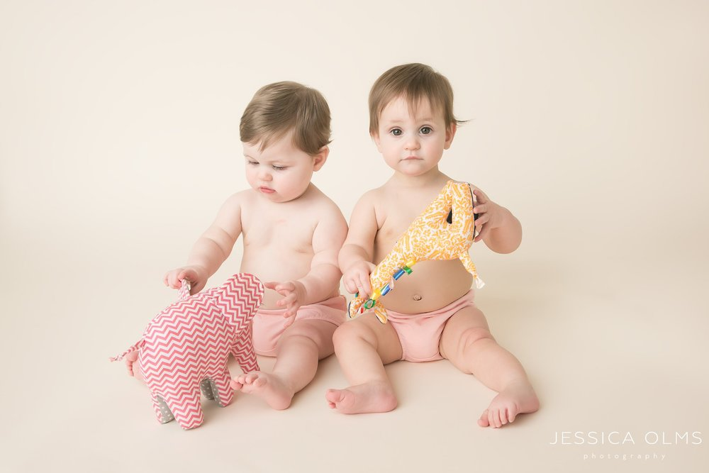 9 month girls with handmade toys columbus ohio baby photographer
