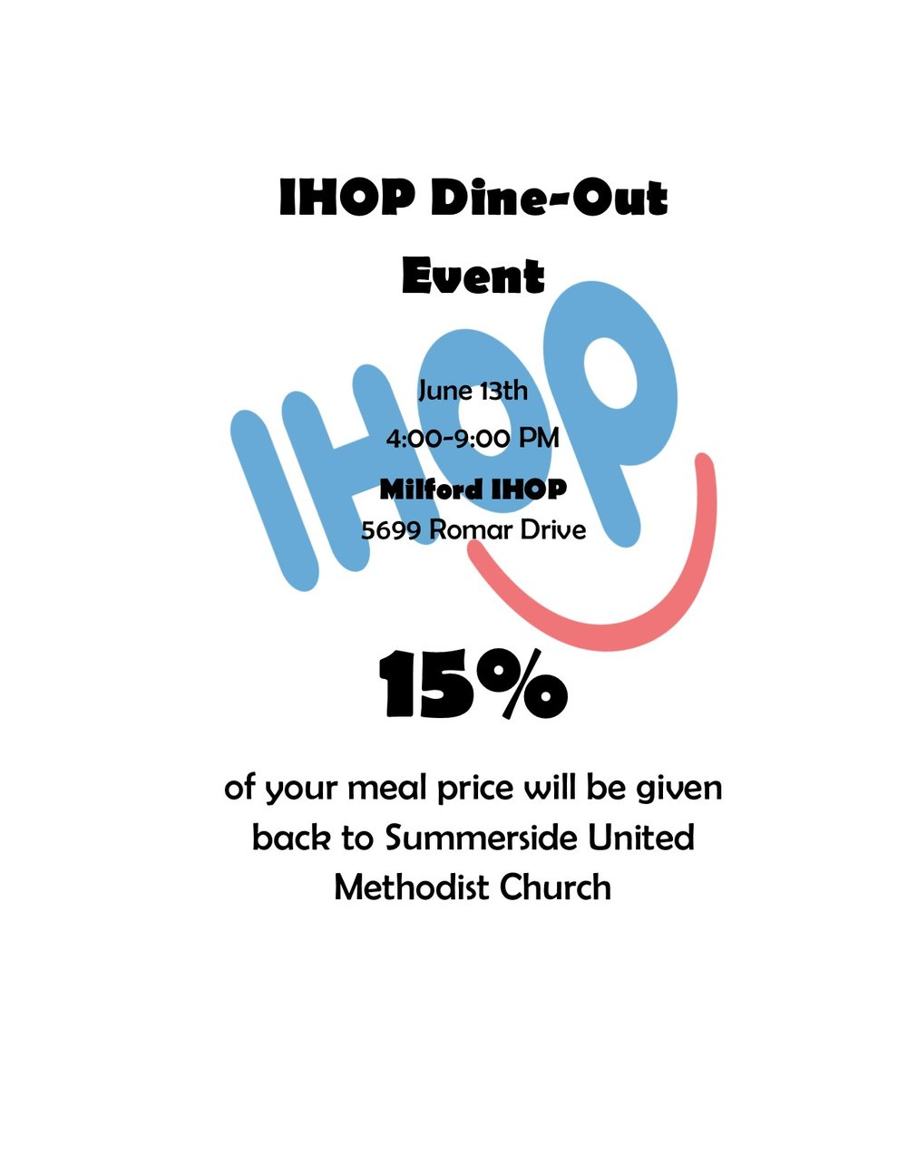 You can print off this image and take it with you to the store or simply let them know you are there to support Summerside UMC.