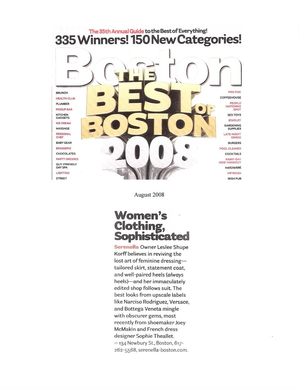 BEST OF BOSTON BOSTON MAGAZINE - 2008