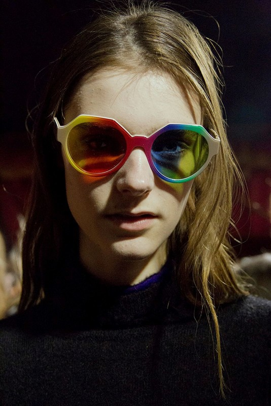 A close up of the psychedelic inspired rainbow glasses from Marco De Vincenzo for his Fall/Winter 2015 collection