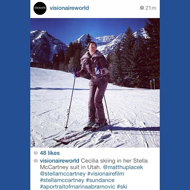 #regram from @visionaireworld. Cecilia Dean hits the slopes wearing @StellaMcCartney