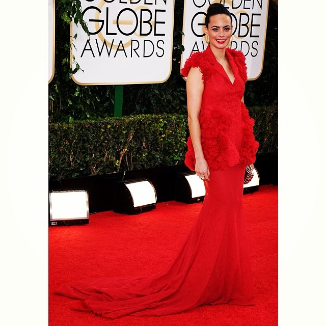 #TBT our favorite look from the #GoldenGlobes: Berenice Bejo in a fiery red @GiambattistaPR gown complete with floral embellishments.