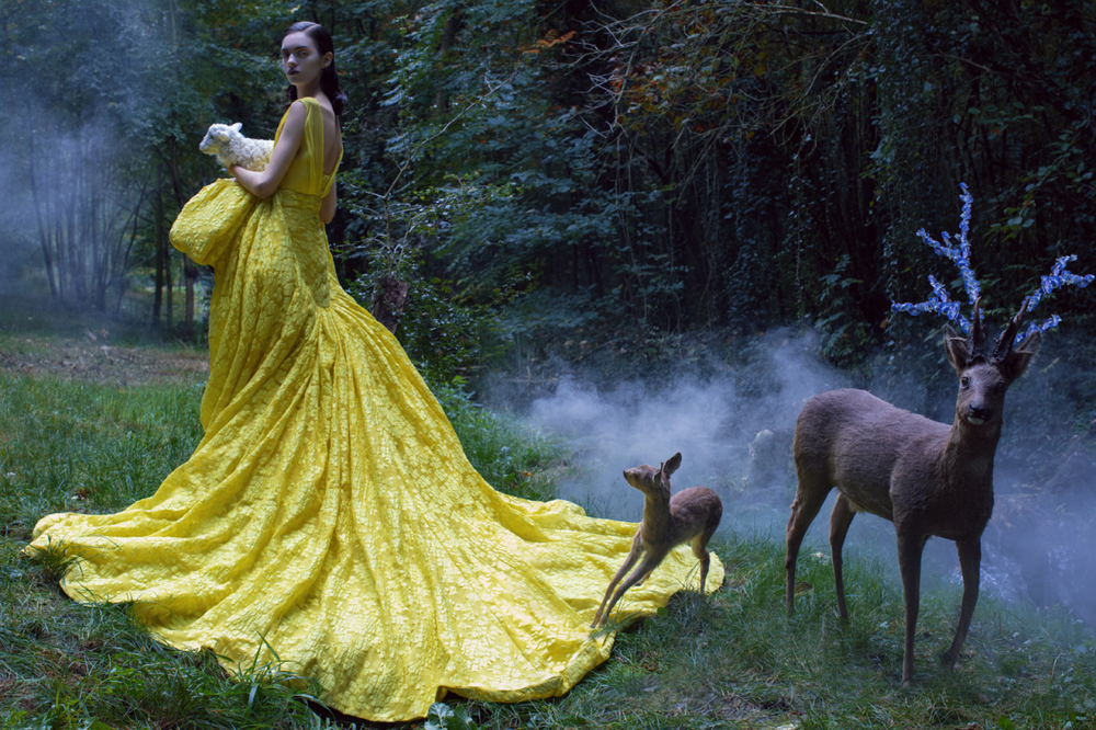 A beautiful chartreuse Giambattista Valli Official Haute Couture draped gown with a breathtaking forest background. (photo via: Harper's Bazaar China