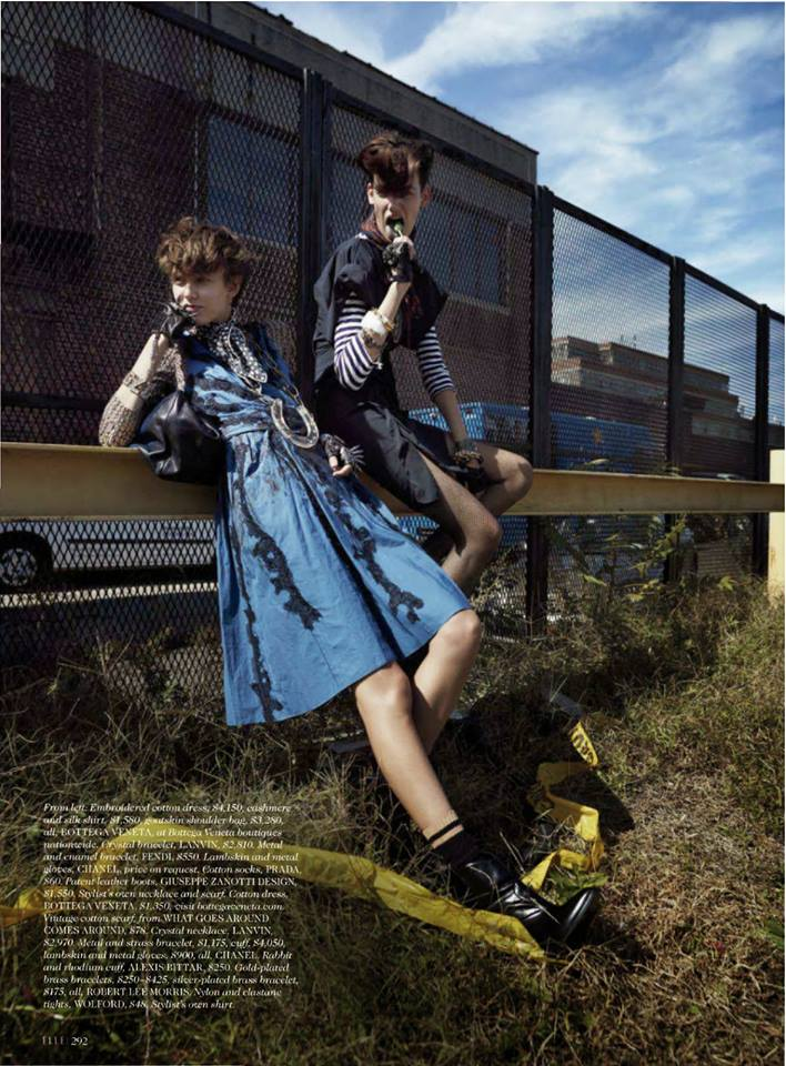 The beauty of fashion! A grunge editorial by ELLE Magazine (US) featuring a classic embroidered cotton Bottega Veneta dress.