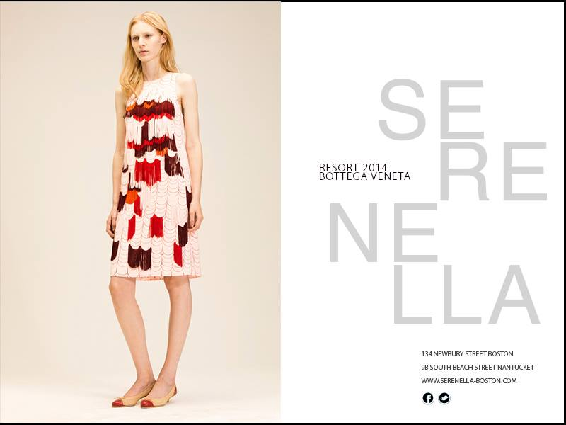 "First Look at Resort 2014: Bottega Veneta fringed ""Gatsby"" dress, available exclusively at Serenella."