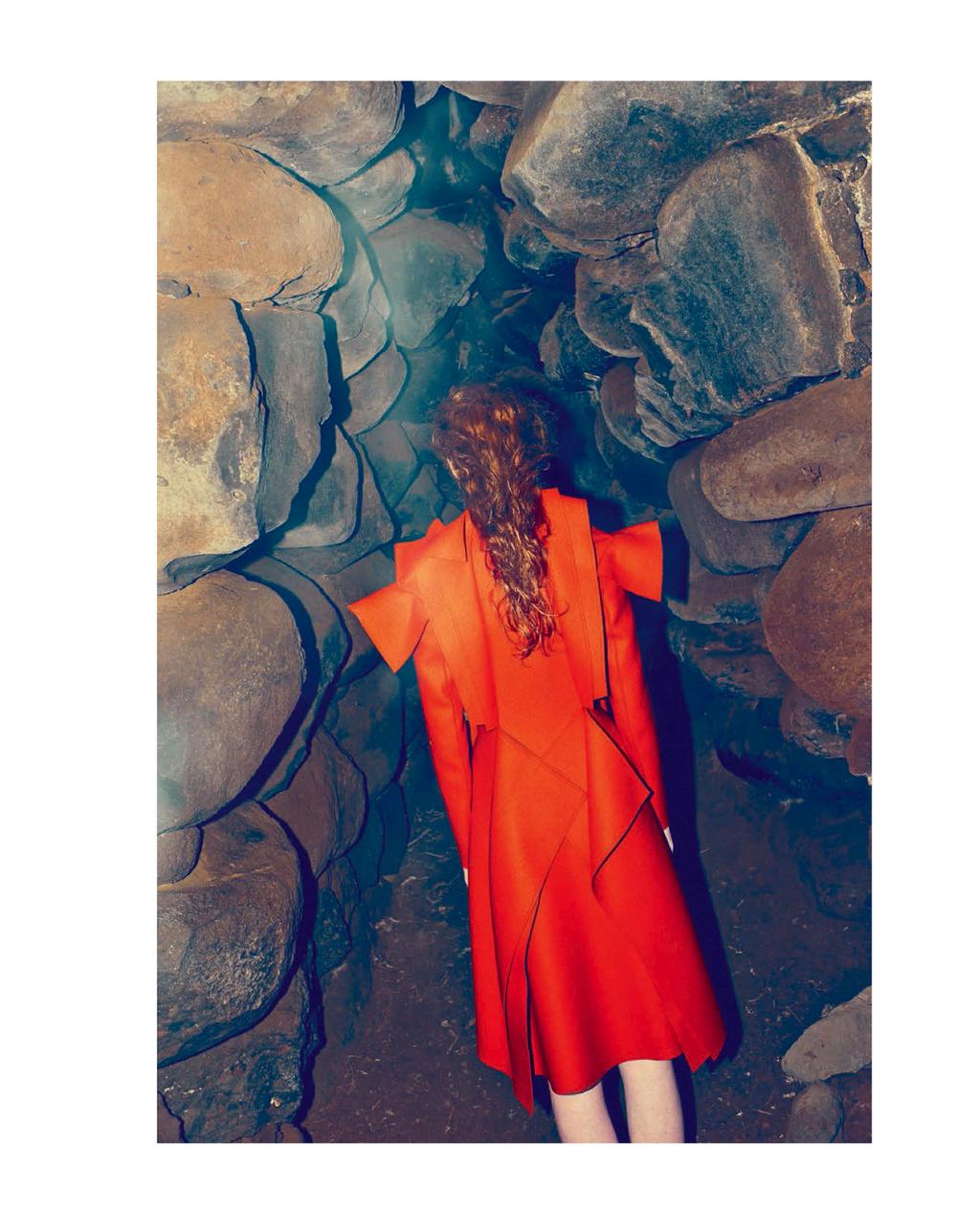 Fashion Expedition:Bottega Veneta's structural orange coat, photo via Marie Claire Italia