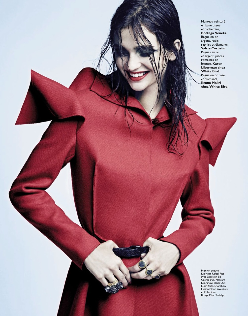 Happy in Red: Coat by Bottega Veneta, photo via Grazia France