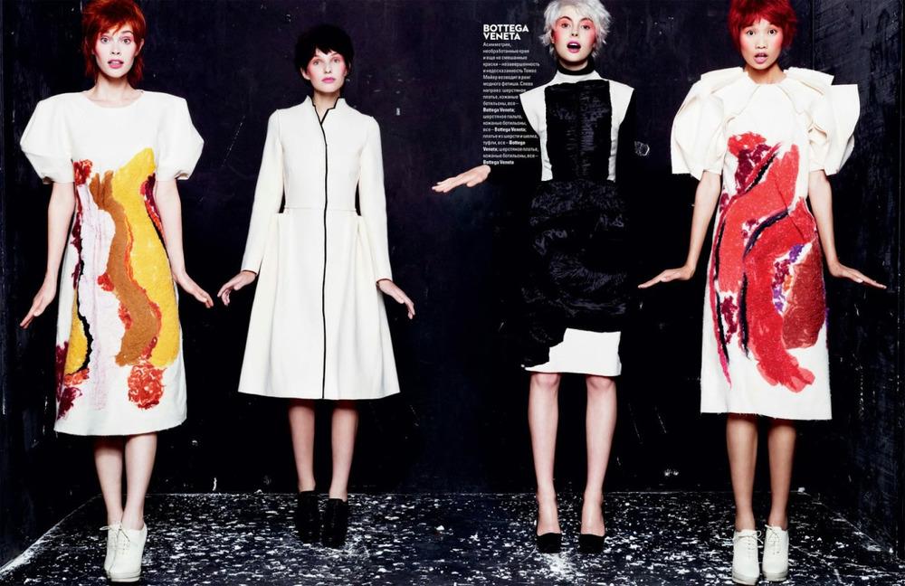 Bold and Beautiful: patterned dresses from Bottega Veneta via Vogue Ukraine