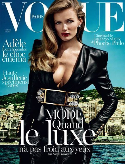 Edita Vilkeviciute looks amazing in leather and gold Balmain on the cover of Vogue Paris!