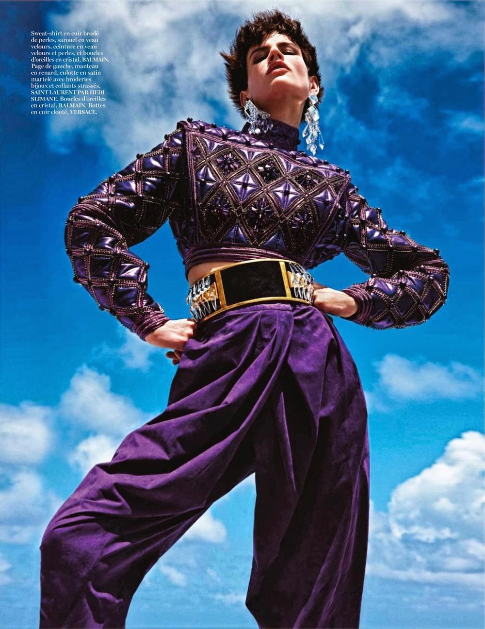 Purple Extreme: Saskia De Brauw wears Balmain in this colorful and fantastic editorial, via Vogue Paris