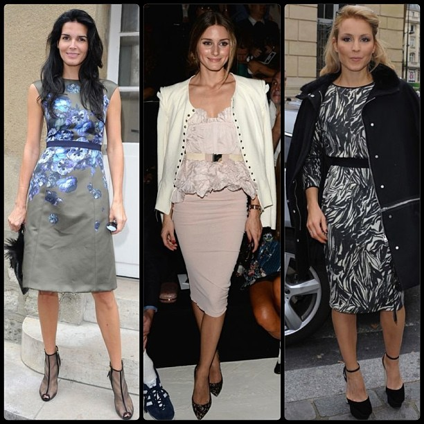 Our favorite celebrity #parisfashionweek looks! Angie Harmon and Noomi Rapace in Giambattista Valli, and Olivia Palermo in Nina Ricci