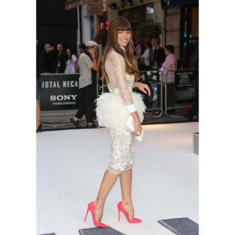 Jessica Biel in a beautiful feathered Giambattista Valli dress from Total Recall Premiere