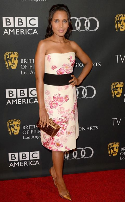 Kerry Washington wore a floral Giambattista Valli official dress to a BAFTA LA TV Party
