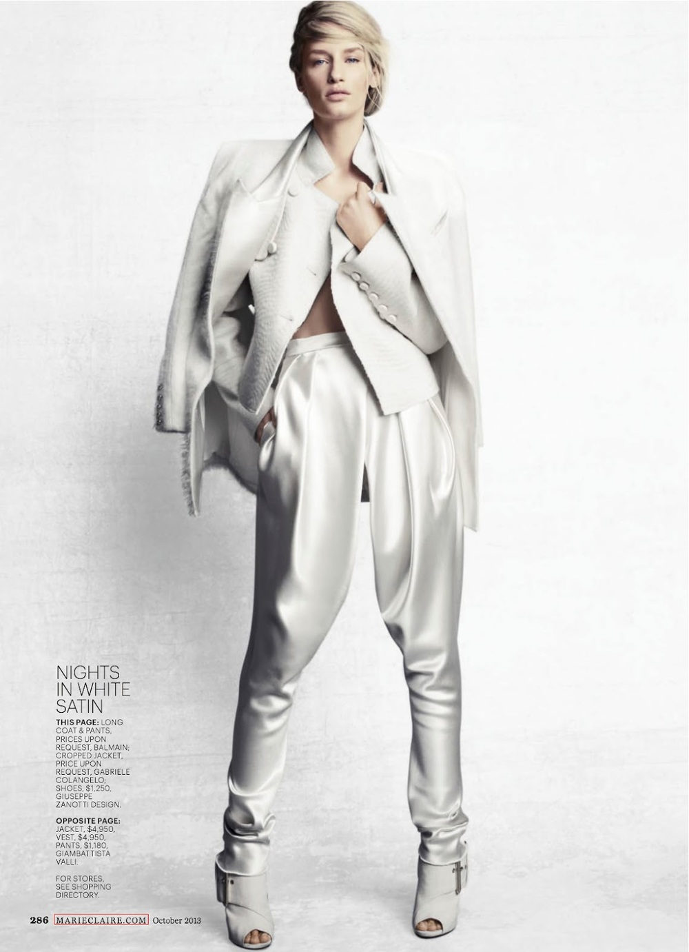Nights in White Satin: gorgeous satin pants from Balmain. Photo via Marie Claire magazine