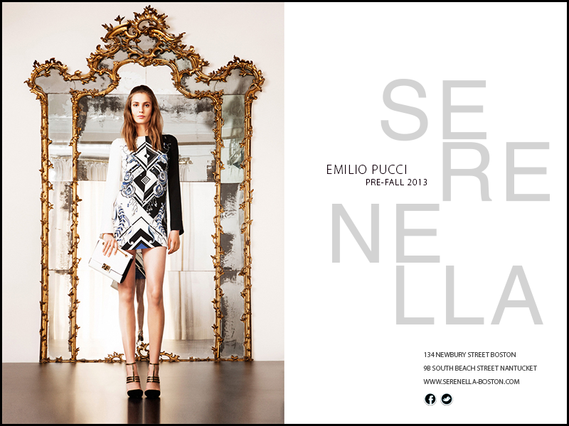 Pre- Fall 2013 Runway Look: Emilio Pucci two-tone print geometric tunic, available exclusively at Serenella h