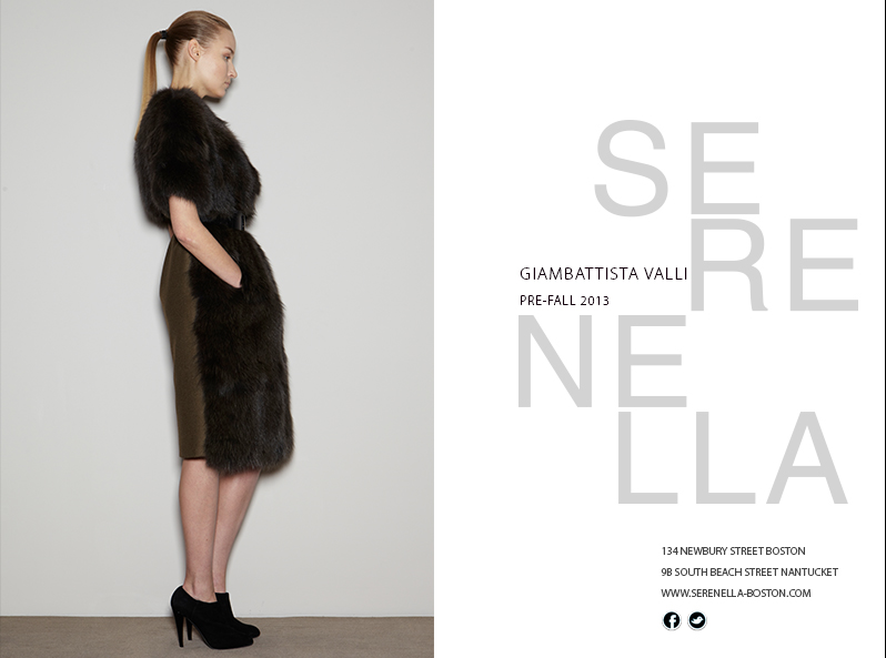 Pre-Fall 2013 Look:Giambattista Valli Patchwork fur jacket with fabric back, available exclusively at Serenella