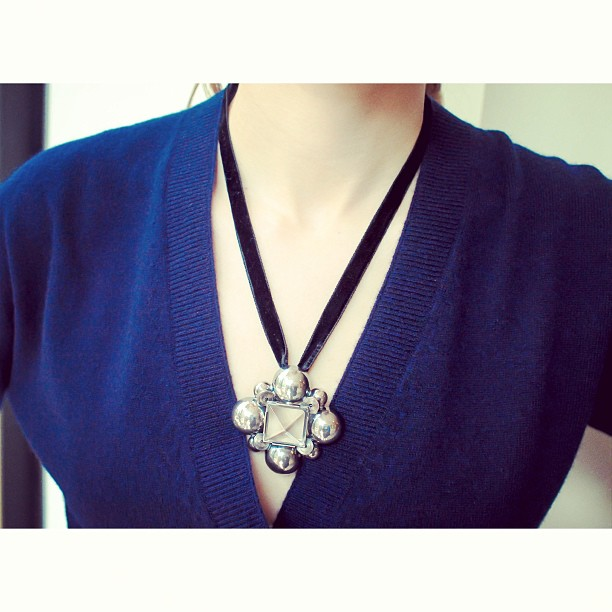 Beautiful sterling silver necklace with velvet ribbon by @BottegaVeneta
