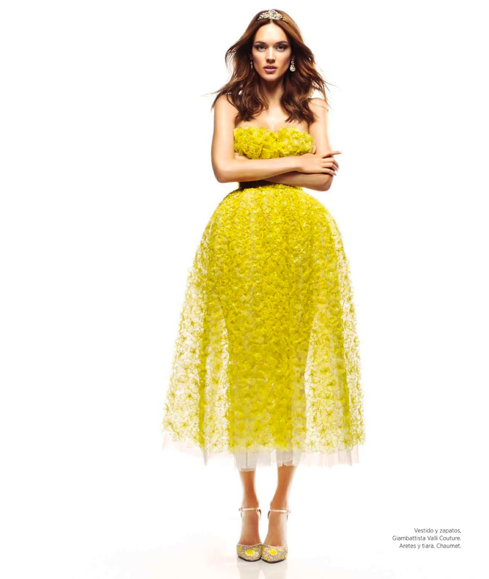 Sheer stunner in the July issue of Harper's Bazaar Mexico. Chartreuse gown and matching heels fromGiambattista Valli OfficialSpring 2013 Haute Couture collection.