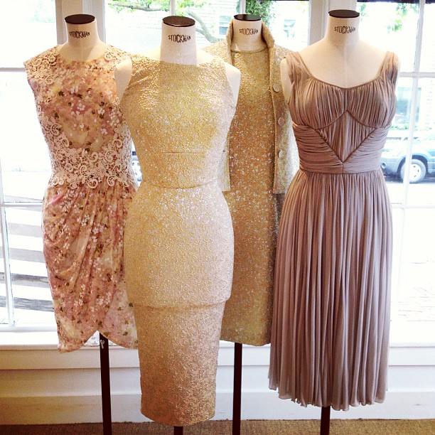 Pretty in pastels in our new Nantucket window! @GiambattistaPr Valli floral and lace dress on the far left; silver and gold embroidered @Rochas dresses in the middle and grey Grecian @Rochas dress on far right