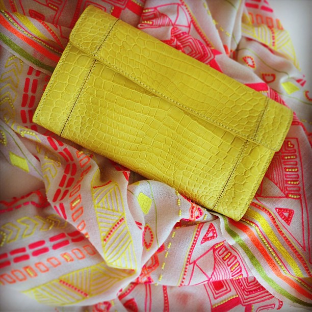 This sunny day calls for some bright #accessories! JSJ yellow crocodile leather #clutch and #Janavi handmade beaded scarf.