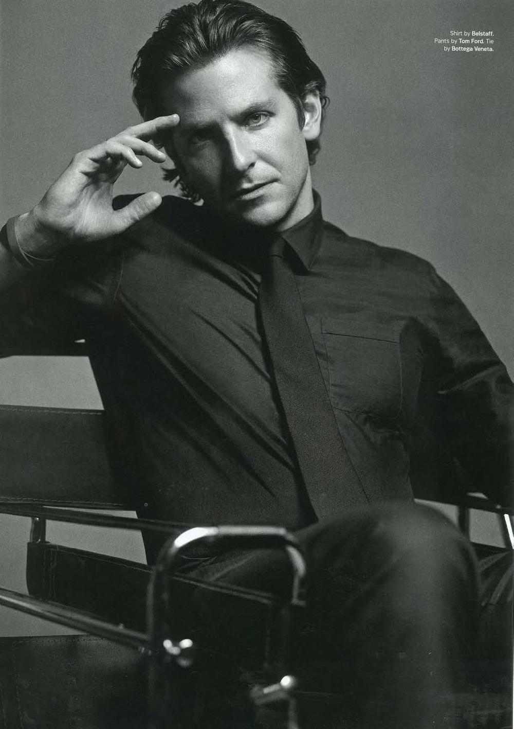 Menswear Monday:Bradley Cooperturns up the heat inDETAILSmagazine wearing a black button down shirt byBelstaffand tie byBottega Veneta