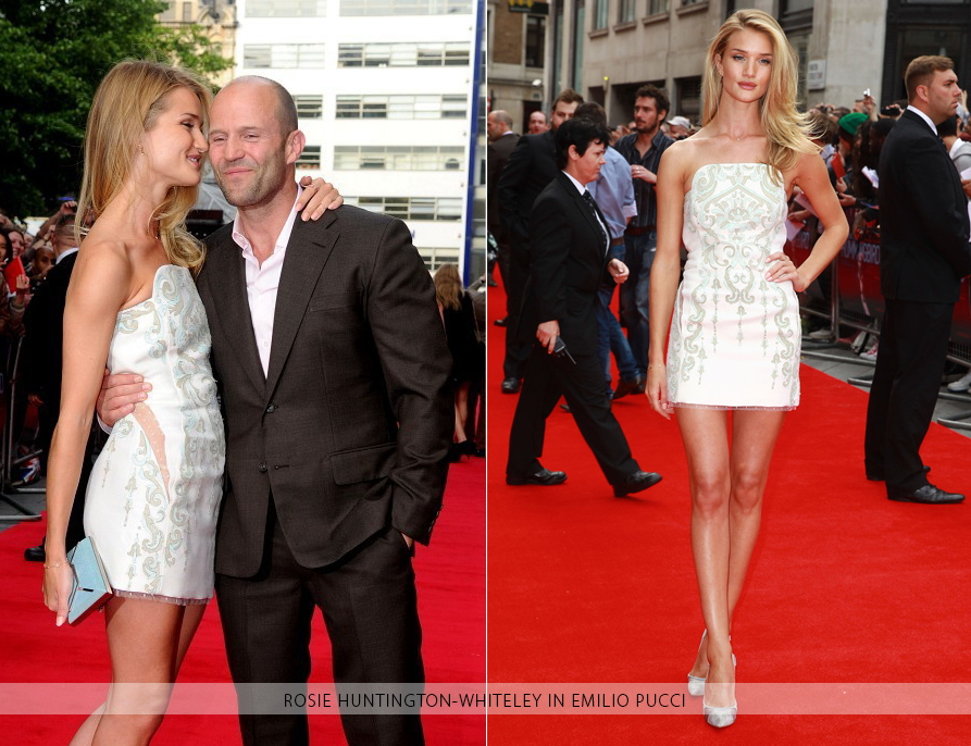 Top modelRosie Huntington-Whiteleywore aEmilio Puccidress to the premiere of her boyfriend Jason Statham's latest movie 'Hummingbird.' The blonde bombshell opted for a Fall/Winter 2013 strapless mini dress with signature sheer inserts at the waist, a teal-and-green baroque print and a delicate point d'esprit trim on the hemline.