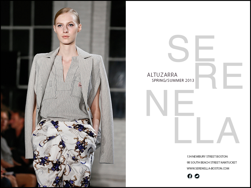 Spring/Summer 2013:ALTUZARRANavy and White Pinstripe Blazer with Side Slits available exclusively at Serenella