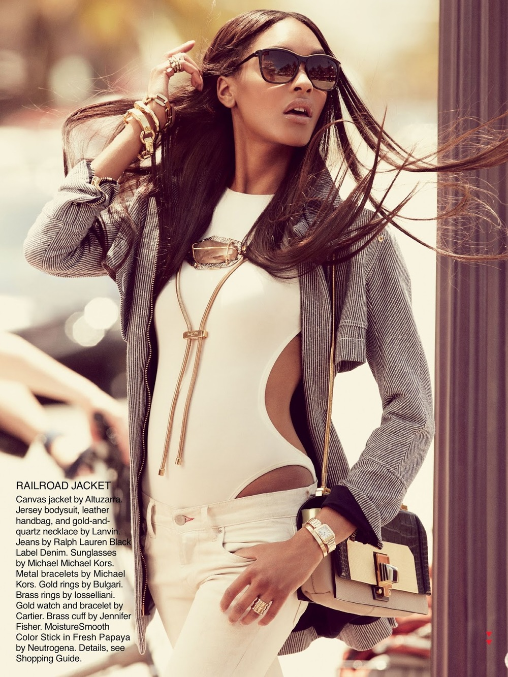 How fantastic does Jourdan Dunn look in this railroad Altuzarra jacket in Allure magazine? Pinstripes are back!