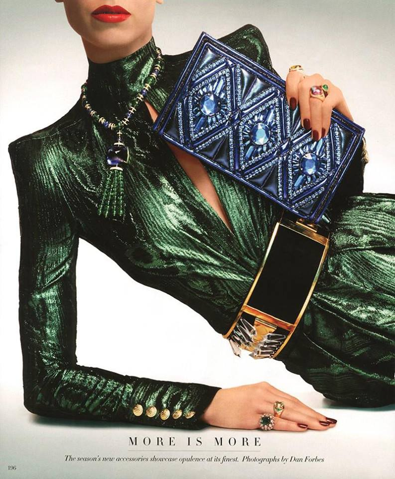 One can never have too muchBalmain. More is more! Balmain top, pants, clutch and belt in the June/July issue ofHarper's Bazaar