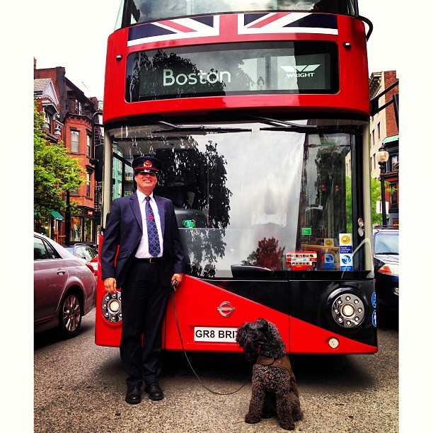 The #GreatGlobalBusTour stopped by @OfficialBarbour so Finian had to show off his Barbour coat! @UKinBoston