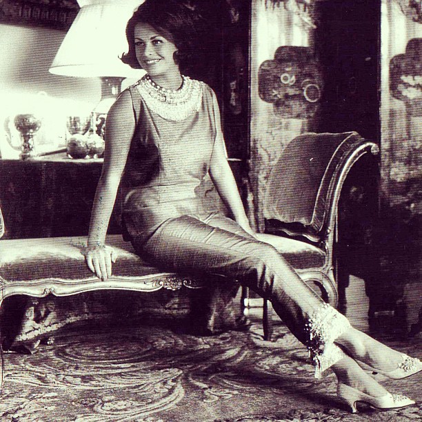 #tbt Princess Irene Galitzine wearing her famous embroidered Palazzo Pyjama in 1962.