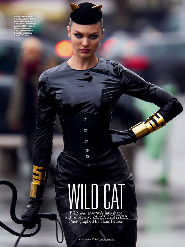 Candice Swanepoelchannels her inner catwoman in a black leatherBottega Venetadress inVogue Australia