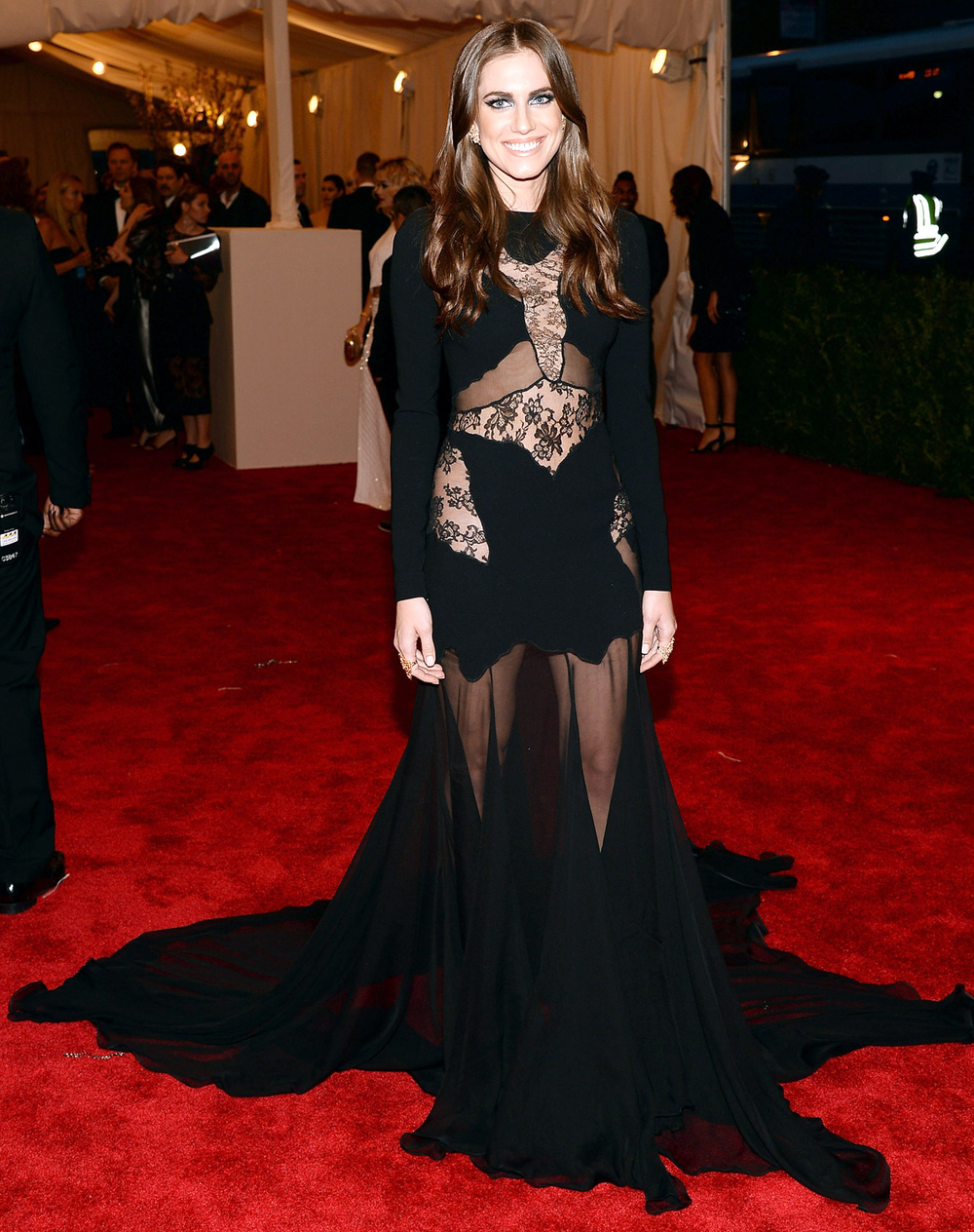 2013 Met Gala:Allison Williamswent uncharacteristically all-out for last night's punk-themed gala. The actress rocked a blackALTUZARRAgown with sheer and lace paneling. A regular punk princess!