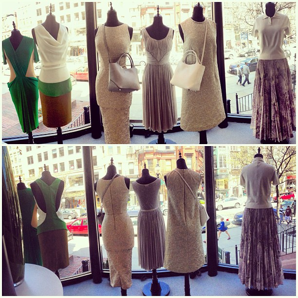 A panorama view of our new window, with looks by #Vionnet and #Rochas