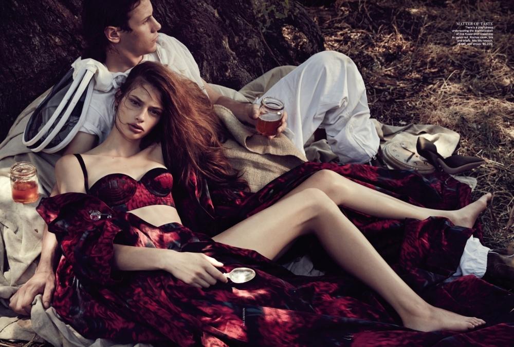 Relaxing in Rochas: Cassi Van Den Dungen models a dramatic Rochas ensemble for Vogue Australia