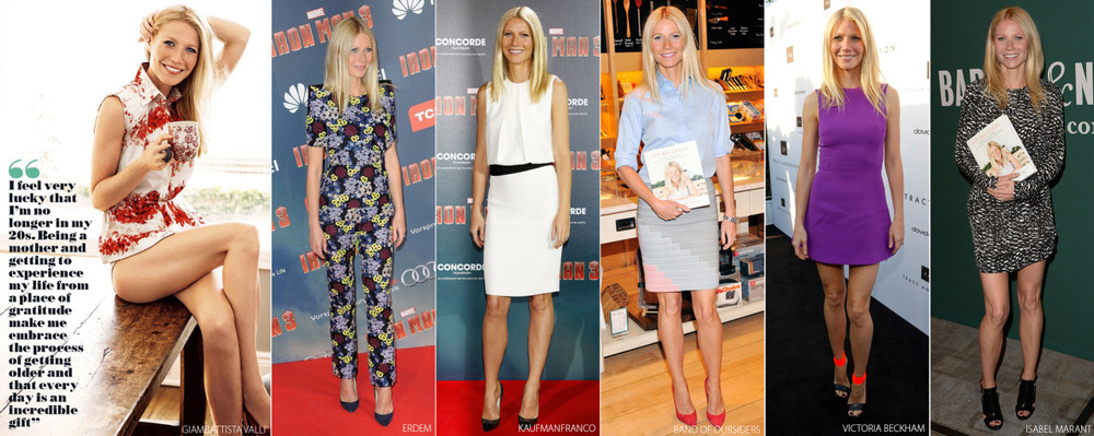 People Magazine named her the world's most beautiful woman, but we love Gwyneth Paltrow's style! From Giambattista Valli Official, to Band of Outsiders, to KAUFMANFRANCO, we think Gwyneth has winning style!