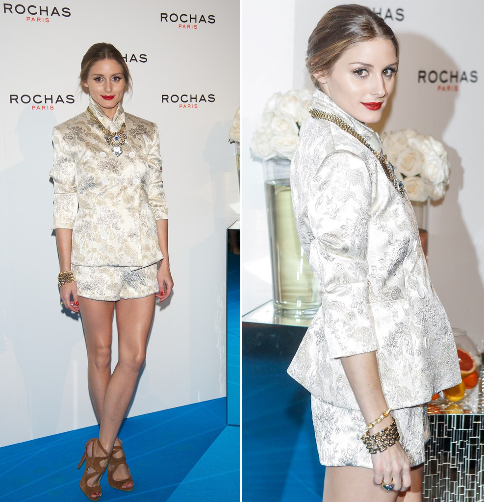 How perfect does the new face of ROCHAS look in a spring ivory jacquard short suit? Olivia Palermo, the face of Rocha's new fragrance 'Les Cascades de Rochas', attended a Rochas event at the French embassy in Madrid on Wednesday night.