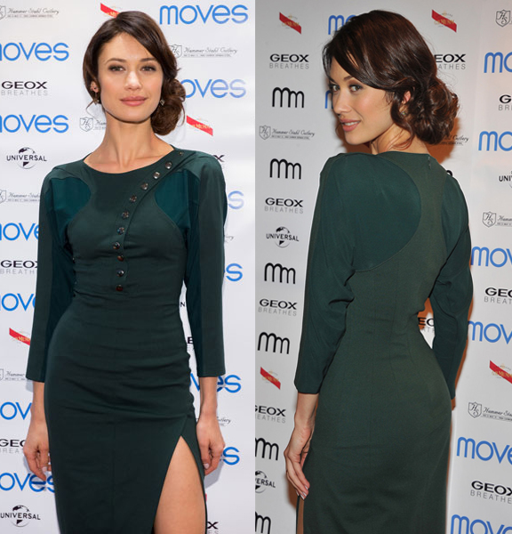 Olga Kurylenko is our new It Girl! Spotted on countless red carpets recently, she opted for a green asymmetrical Altuzarradress from the Fall collection when attending the 2013 Moves Magazine Spring Fashion Cover Party.