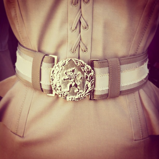 How amazing is this Altuzarra taupe and gold calf leather Marley belt?