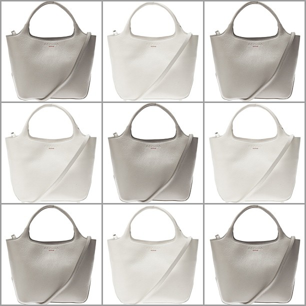The @Rochas Satchel MD Bag available in white and grey at Serenella Boston
