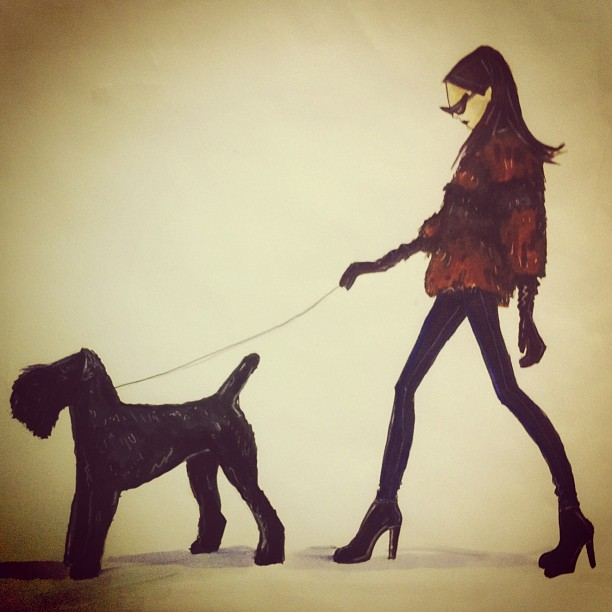 An illustration of Leslee walking Finian #throwbackthursday #tbt