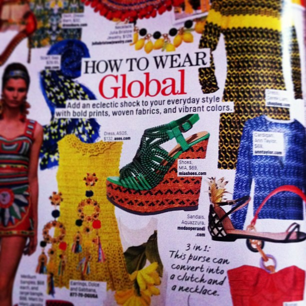 How to wear Global: @Aquazzura pineapple sandals spotted in the March issue of Cosmopolitan