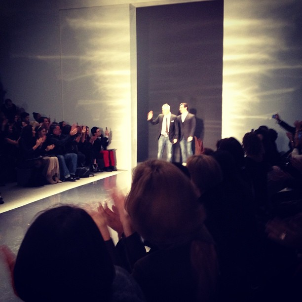 Ken Kaufman and Isaac Franco take a bow after their first #KaufmanFranco runway show #NYFW