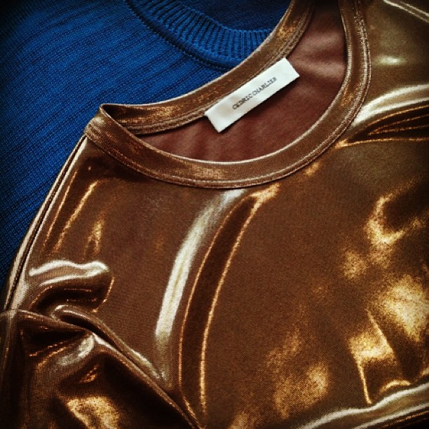 Holiday party attire? Just in, Cedric Charlier metallic gold top and blue sweater from Resort collection