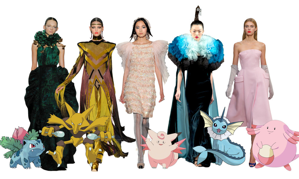 textbook: With the couture shows coming up, I figured now would be a good time to look at them through the eyes of the original 150 Pokémon. To be honest, it's fairly simple to find them in couture…maybe a little too simple. Next time you're looking at a collection, think about it and see what happens. There are at least 5 Vileplumes every season. 1. Giambattista Valli and Ivysaur 2. Jean Paul Gaultier and Alakazam 3. Chanel and Clefable 4. Alexis Mabille and Vaporeon 5. Christian Dior and Chansey Some of you old school followers might remember the previous Pokémon Couture posts which can be seen here.