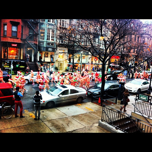There's a sea of Santas outside! Happy Santa Speedo Run! (at Serenella Boston)