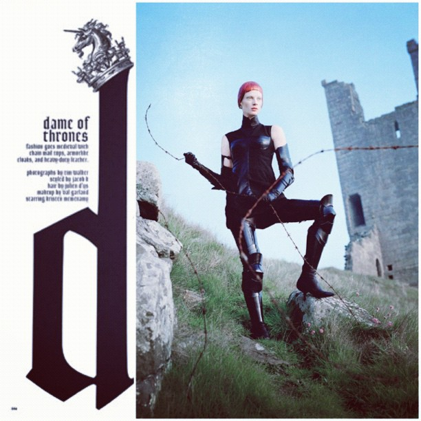 """Dame of Thrones"" editorial in W Magazine September issue featuring Bottega Veneta boots (Taken with Instagram)"